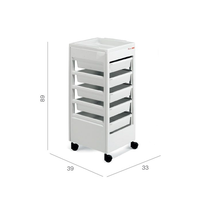beauty salon trolley with drawers in white