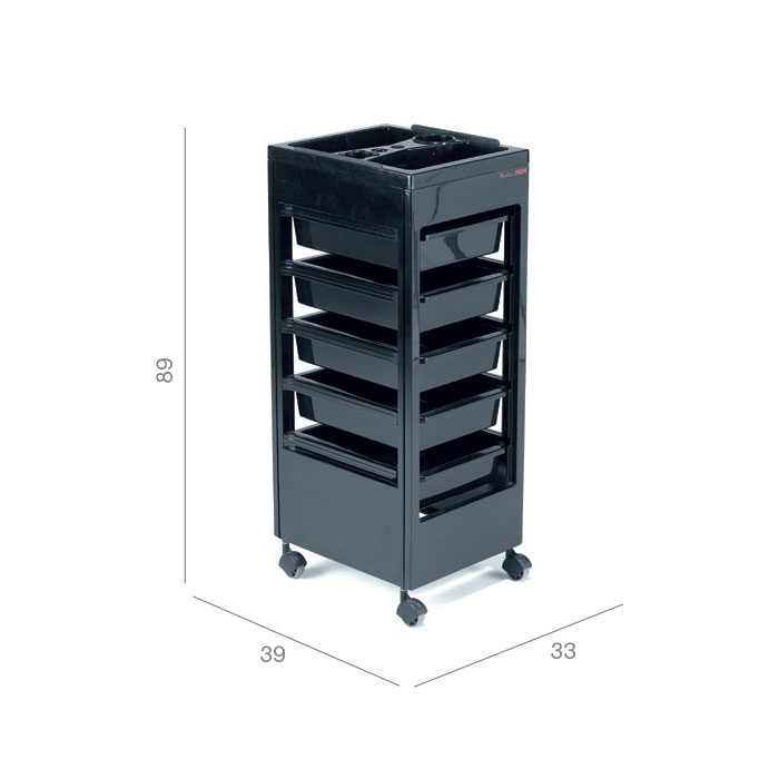 salon trolley in black with drawers