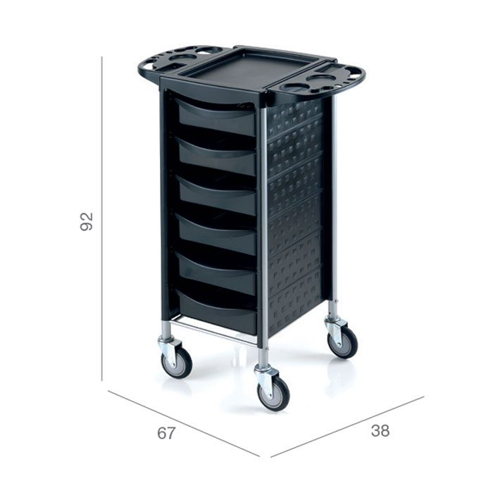 salon storage trolley in black with drawers