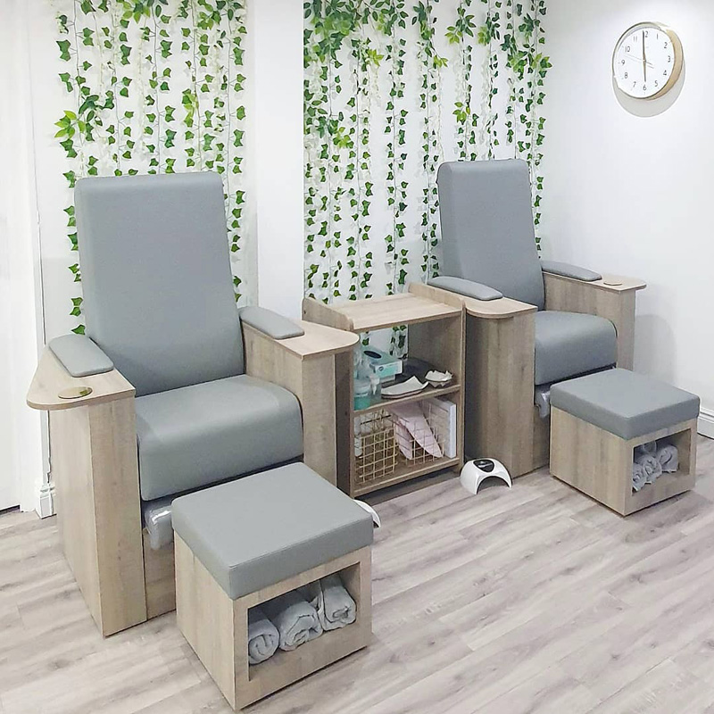 light and modern pedicure chairs with towels