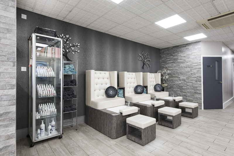 pedicure station with spa pedicure chairs retail display